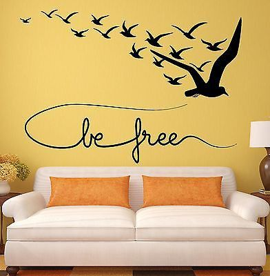 Wall Decal Be Free Birds Coolest Room Decor Vinyl Stickers Art Mural (ig2543)