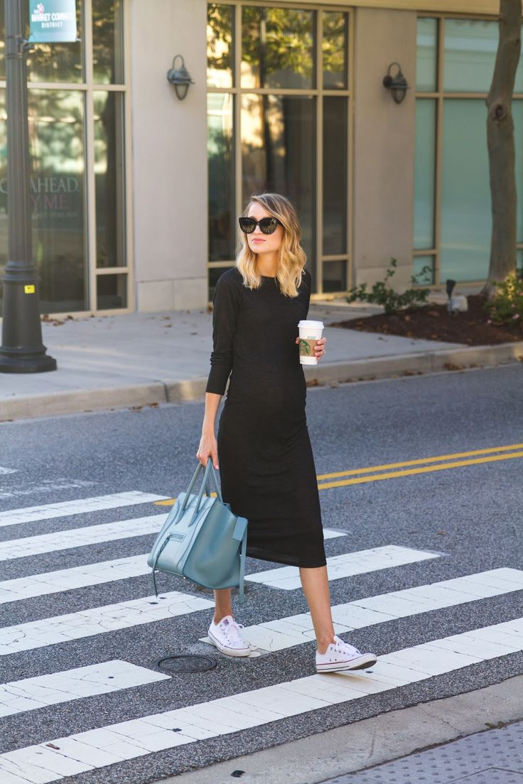 Black dress with adidas shoes - Knit Midi Dress And Sneakers