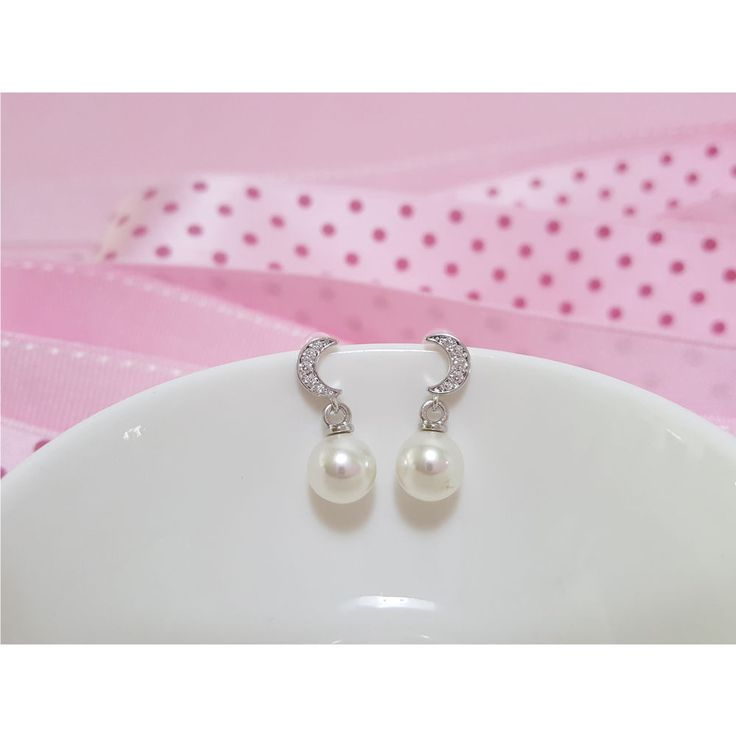 Korean Fashion Jewelry Cubic Silver Post Pearl Earring for Women Girls Ladies #Rielar #Stud