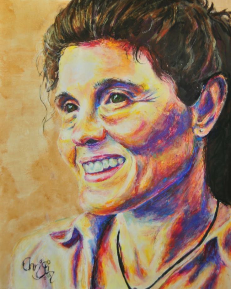 Christi Ferreira Art - she smiles with strenght & dignity, oil pastel & acrylics