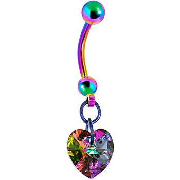 Handcrafted Genuine Light Vitrail Preciosa HEART Titanium Belly Ring MADE WITH SWAROVSKI ELEMENTS #bodycandy #bellyring #rainbow $11.99