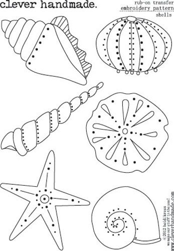 Clever+Handmade+-+Embroidery+Patterns+-+Rub+Ons+-+Shells+at+Scrapbook.com