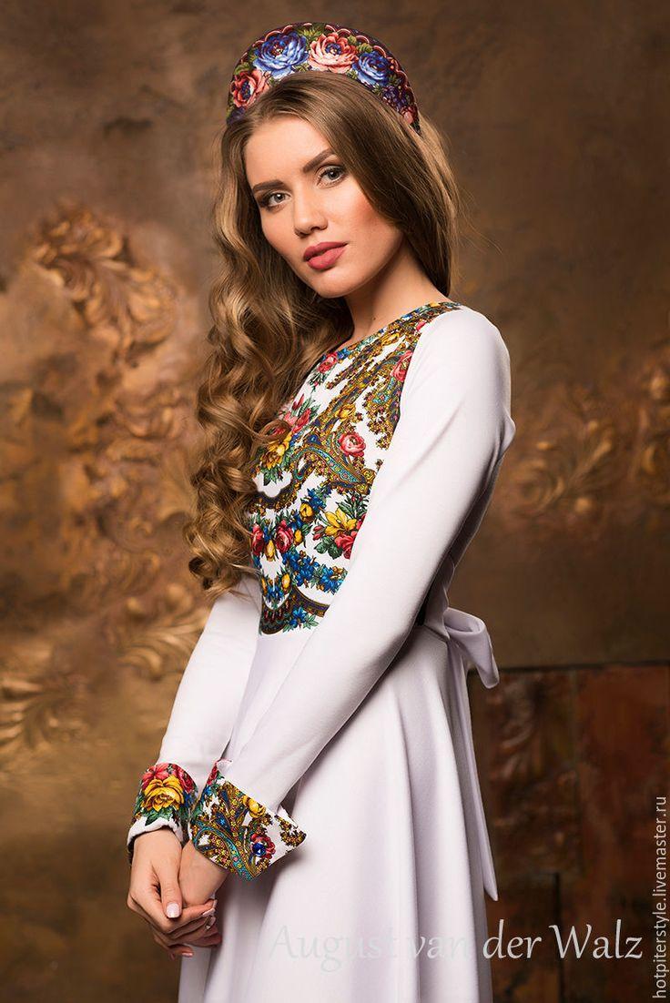 Купить Платье в макси длине в Русском стиле - цветочный, платье из платка, макси платье