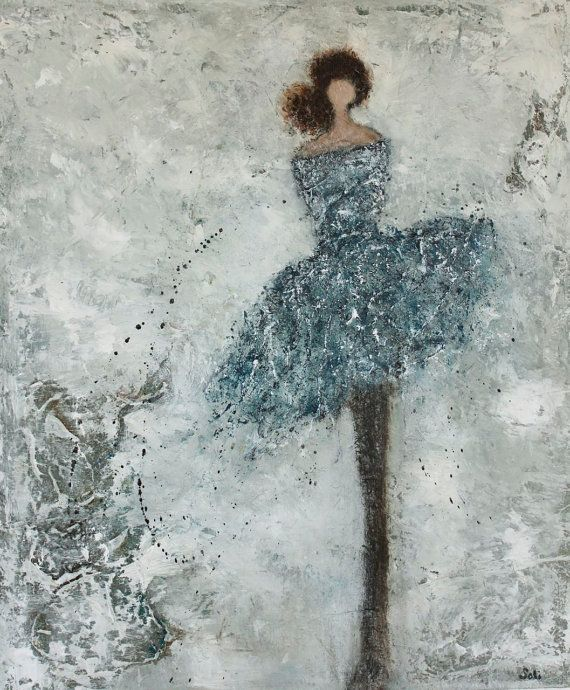 Figurative Painting   dancer woman textured  So Many Dreams 24 x 20 Swalla Studio on Etsy, Sold