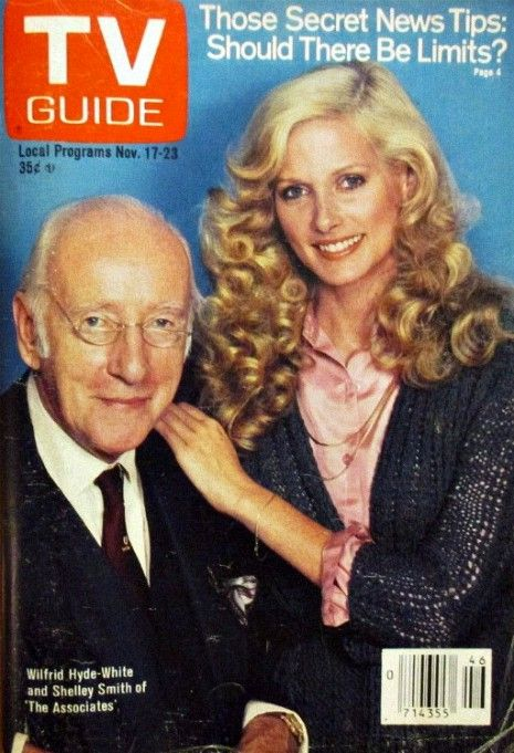 """Shelley Smith makes the cover of TV Guide with actor Wilfred Hyde-White for the 1979 TV show """"The Associates."""""""
