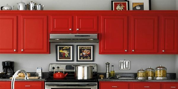 LOVE the red cabinets and grey wall. I never would have thought to use red but I love it!