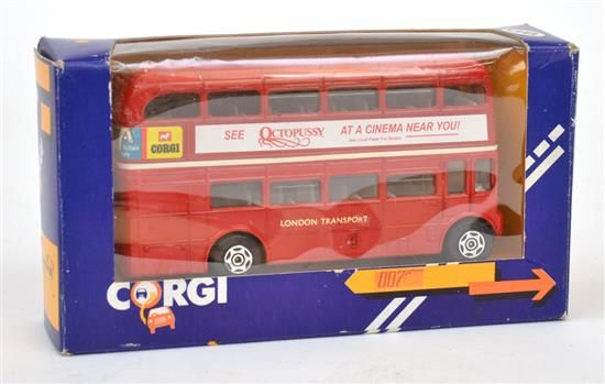 Lot 1 - Monthly Toys - Sale LJ5736  25 Jul 2013 12:00 South Yarra LOT 4 EXTREMELY RARE CORGI NO.469 ROUTEMASTER BUS 'JAMES BOND', RED, 'SEE OCTOPUSSY AT A CINEMA NEAR YOU' TO SIDES, PROMOTIONAL BUS IN CONJUNCTION WITH THE PREMIER IN LEICESTER SQUARE, LONDON, IN VIOLET, ORANGE AND YELLOW WINDOW BOX WITH '007' AND 'PREMIER' TO BOX (E-M BOX VG-E)  #Auction #collectables #toys #007 #bond