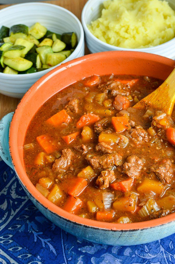 Syn Free Beef and Vegetable Casserole - a great hearty meal that can be cooked in a slow cooker, instant pot or oven.