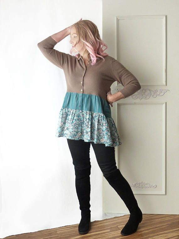 Vintage Sweater w skirt, tan, brown, teal, floral, medium large, ooak, cardigan, 3/4 sleeve, Talbott, girly, retro, ooak, indie, form fit