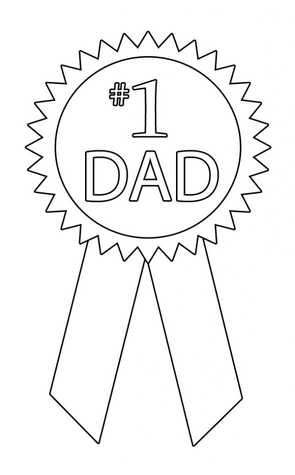 #1 Dad Ribbon coloring page. | Happy Father's Day | Pinterest
