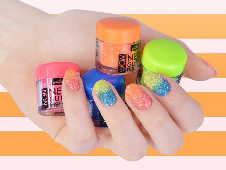 Neonowy pyłek brokatowy do wykonania efektownego manicure. Dostępny w 4 wersjach kolorystycznych.