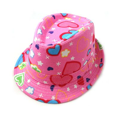 Canvas Fedora Jazz Cap - Pink Heart $11.00 Available from www.zazzi.com.au