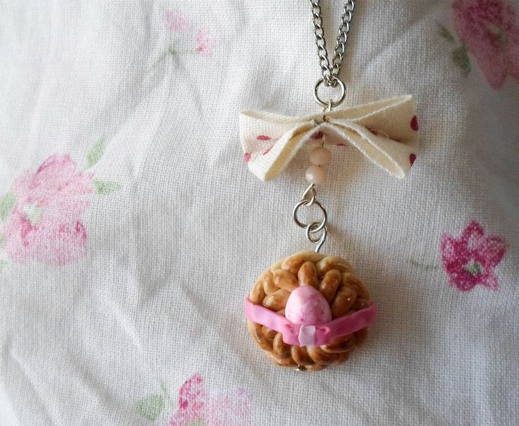 Sweet greek easter bread necklace /pink tsoureki pendant / spring gift for her jewelry /polymer clay cute miniature / sweet food jewelry by AandAminiatures on Etsy