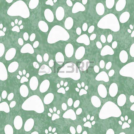 Verde y blanca de la pata del perro del modelo del azulejo de repetición de fondo que se repite sin fisuras y. Foto de archivo - 42213287