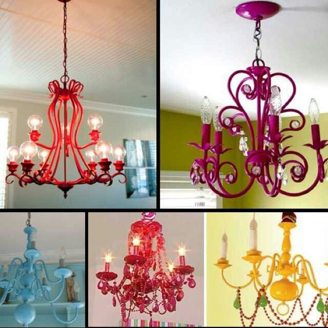 Paint an old metal chandelier for a fresh, updated look.