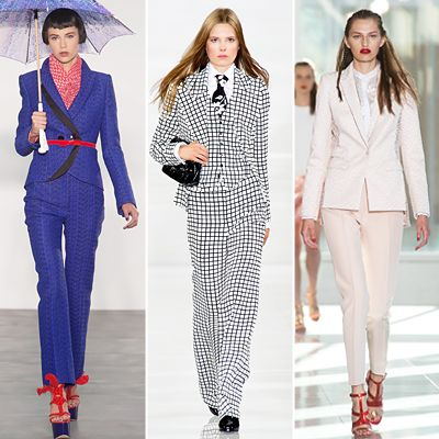 SUITS Look like a boss in a power suit—but with coordinated color separates. Brave a bold pattern or color. Too intimidating? Tread waters with a lighter shade. ..............From left: L'Wren Scott, Ralph Lauren and