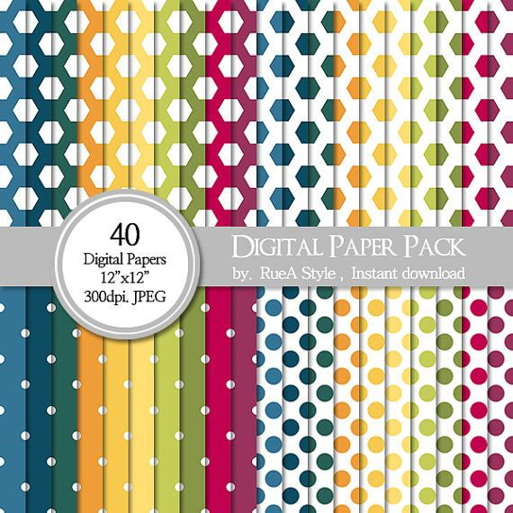 SALE 40 Digital Paper Pack  circle Hexagon design Dot by rueastyle