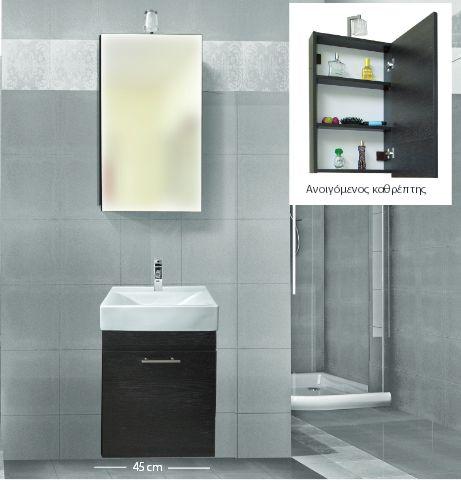 στενό έπιπλο μπάνιου, κωδικός 1380 μήκος 37-βάθος 28-ύψος 55 τιμή με φπα βάση+νιπτηρας 104 Ε τιμή καθρέπτης 25 Ε