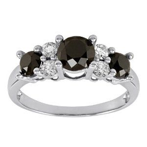 I have been looking at this item for a long time. Recently I noticed that they offered a $150 savings off the regular price so I jumped on it. I still cannot take it out of the box. It is beyond beautiful for this price. I have a three stone diamond ring that it fits with perfectly and my hand looks like a million bucks with the two rings. But even alone this is a stunner. I am crazy for black diamonds and this did not disappoint. Thank you Amazon.com once again!