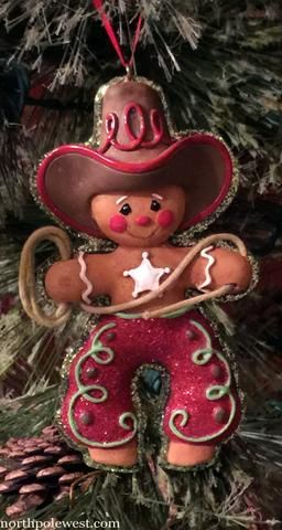 What an adorable face on this western cowboy gingerbread Christmas ornament from North Pole West