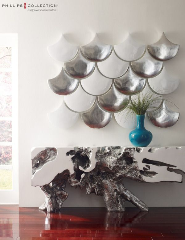 Phillips Collection | Scales Wall Decor and Freeform Console  #ecochic #modern #design #sculpture