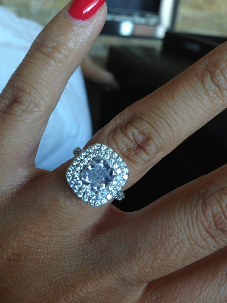 2 ct cushion cut double halo Engagement Rings Pinterest