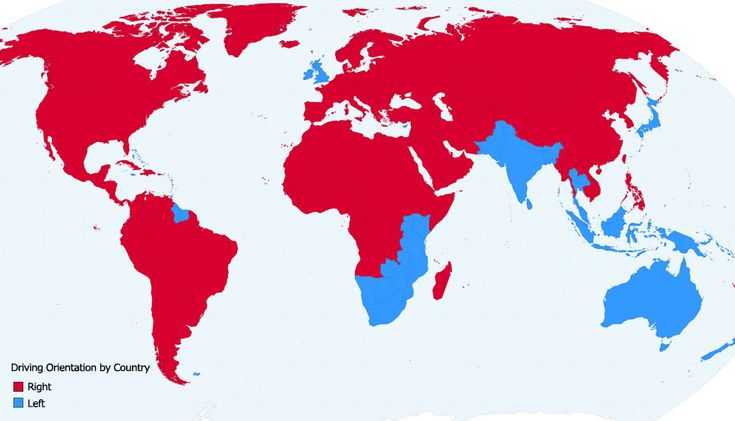 Wondering which side of the road a particular country uses for driving? Check it out on this map.