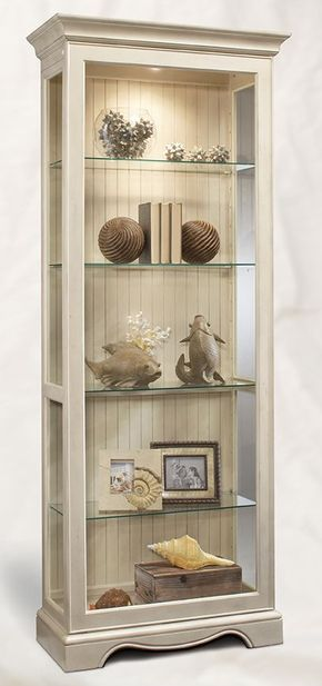 Home Gallery Furniture for White, Ambience 2-Way Sliding Door Display Cabinet - Shell