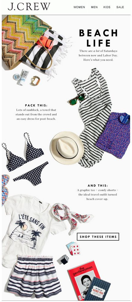JCrew email design. Interesting copy style that's appropriately secondary to the products.