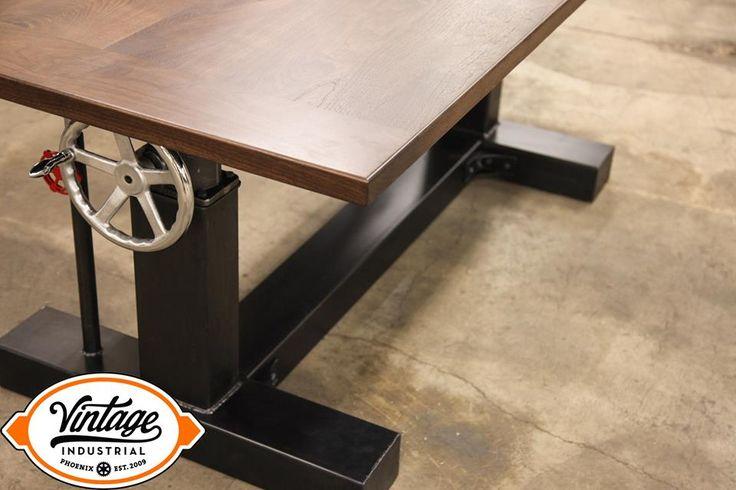 Walnut Crank Desk by Vintage Industrial Furniture