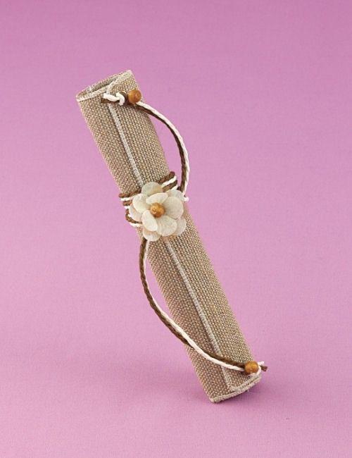 Μπομπονιέρα Γάμου Πάπυρος από Λινάτσα