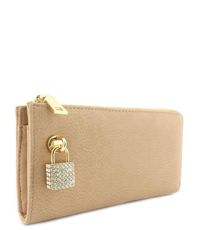 Rhinestone Lock Purse Wallet Clay - Abfabulous Fashion