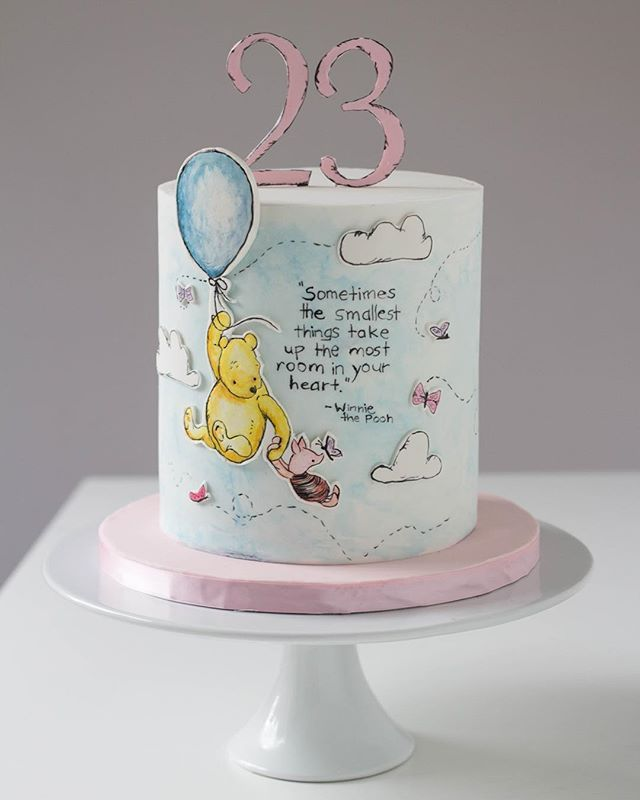Another extra tall chocolate birthday cake going out today:) I LOVE painting  on cakes, especially giving them this soft watercolour look. Also, making my own toppers with gum paste has been challenging but rewarding! #paintedcake #watercolor #winniethepooh #winniethepoohquotes #caketopper #piglet #poohcake #doublebarrel #sharpedges