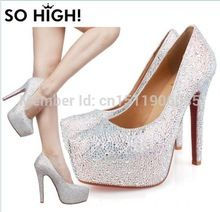 Women Pumps Large Size 34-42 White Silver Blue Black Sexy Prom Rhinestone Red Bottom High Heels Women's Wedding Shoes2424(China (Mainland))