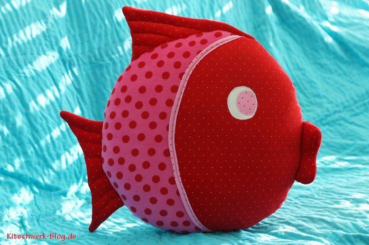 Fisch Kissen, Fish Pillow, Stoff, nähen, fabric, sewing