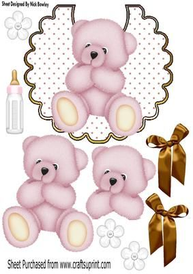 Cute pink teddy on a polkadot bib gold bows A4 on Craftsuprint - Add To Basket!