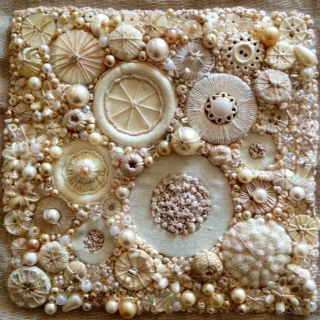 Embroidered Panel, stitch, buttons, pearls, beads and trapped metal washers.