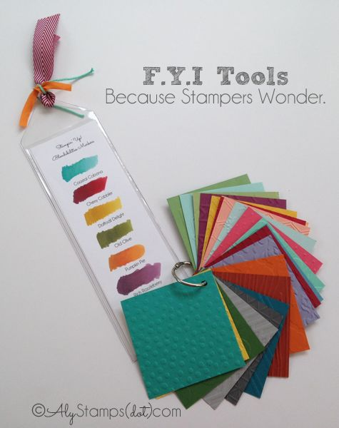 Resource Tools: Blendabilities Bookmark and swatch ring for EVERY current Embossing Folder! Great to see things in person and have handy in your stamping area.