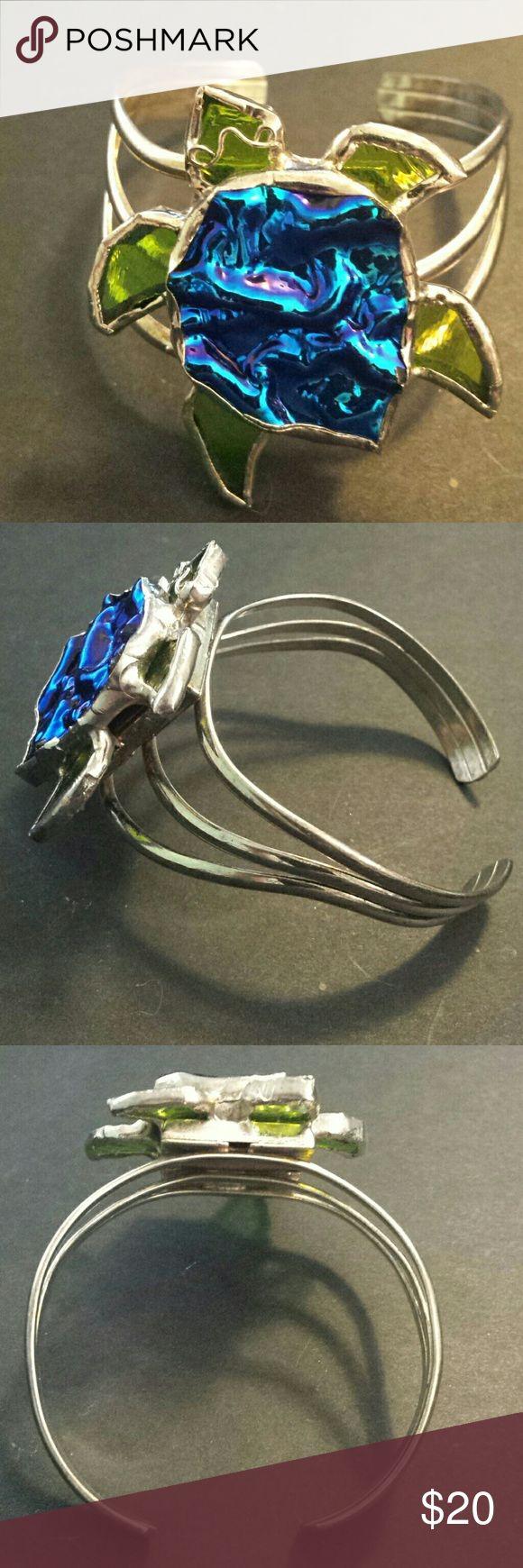Small turtle cuff bracelet Small turtle cuff bracelet with dichroic glass center Jewelry Bracelets