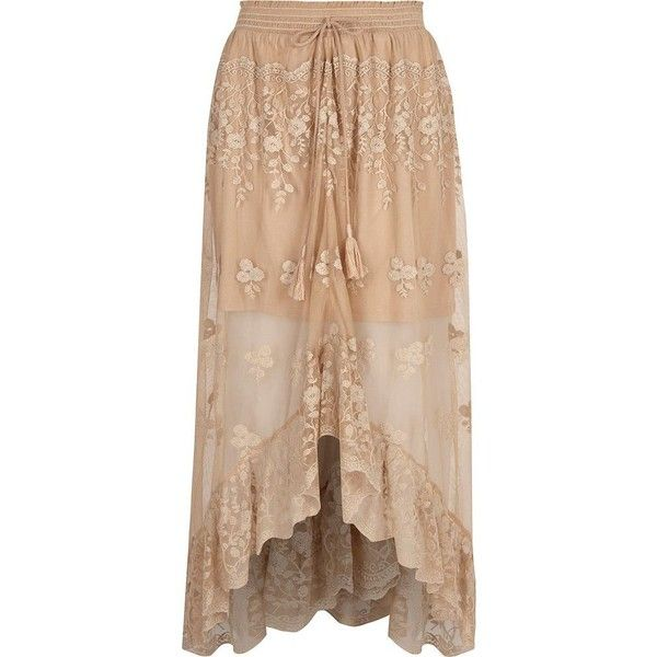 River Island Beige mesh embroidered maxi high-low skirt ($96) ❤ liked on Polyvore featuring skirts, beige, maxi skirts, women, hi low maxi skirt, long beige skirt, ankle length skirts, high low skirt and long skirts