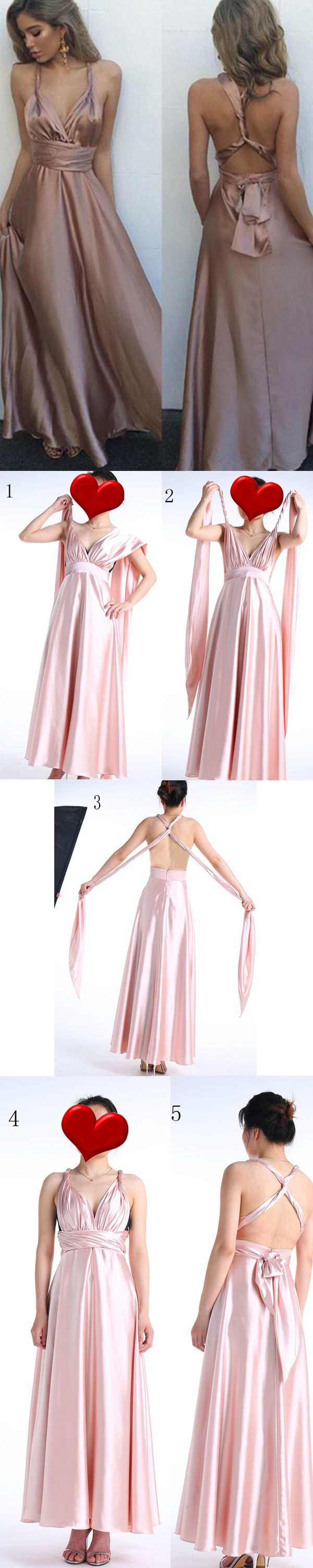 Different ways to wear this prom/bridesmaid dress. v neck prom dresses, blush prom dresses, 2017 prom dresses, multi wear prom dresses, long prom dresses