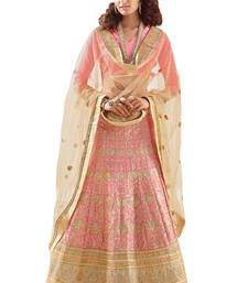 Buy Pink embroidered korean chiffon unstitched lehenga choli lehenga-choli online