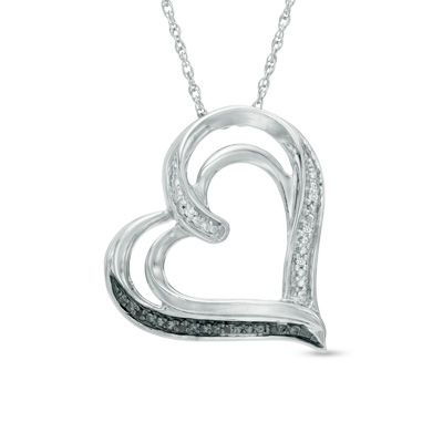 Zales Enhanced Black and White Diamond Accent Love Birds in Heart Pendant in Sterling Silver qNgC2N