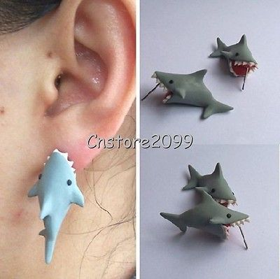 New 100 Handmade Polymer Clay Cute Shark Earrings Ear Stud 925 Silver Needle | eBay