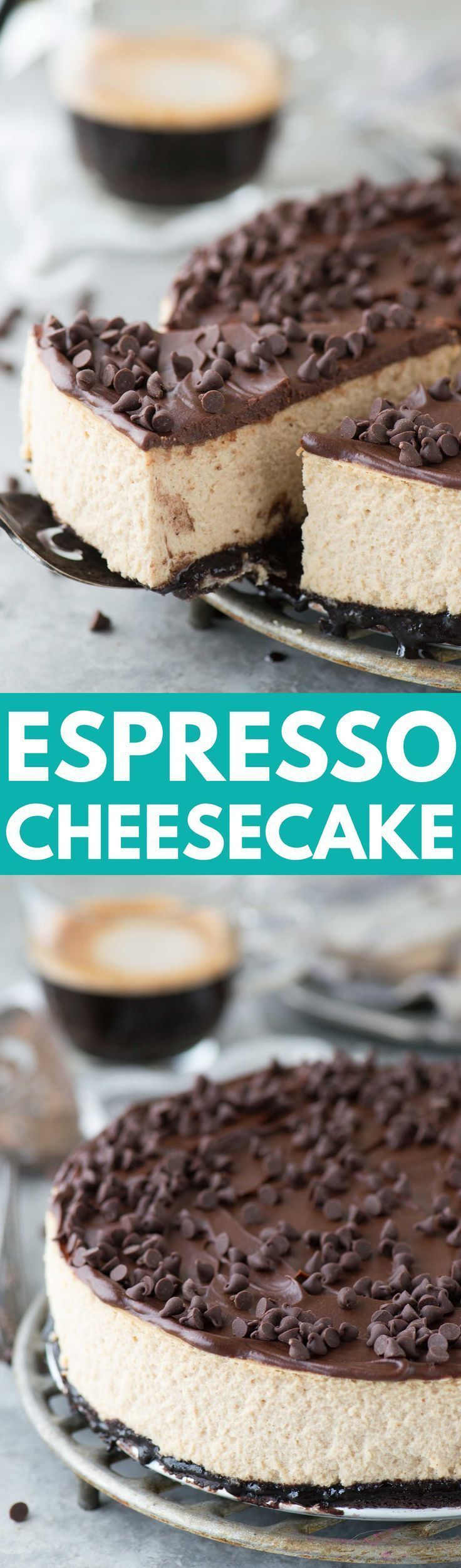 The most amazing espresso cheesecake with an oreo crust and a layer of chocolate ganache! This cheesecake has real espresso in it! #CoffeeDrinks