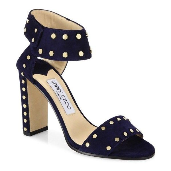 Jimmy Choo Veto Studded Suede Block-Heel Sandals (15,940 EGP) ❤ liked on Polyvore featuring shoes, sandals, navy, heeled sandals, block-heel sandals, suede leather shoes, colorblock sandals and fleece-lined shoes