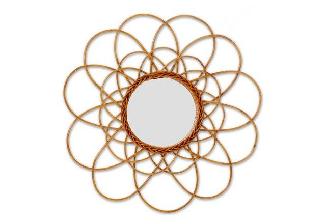 Rattan Sunburst Mirror, Honey