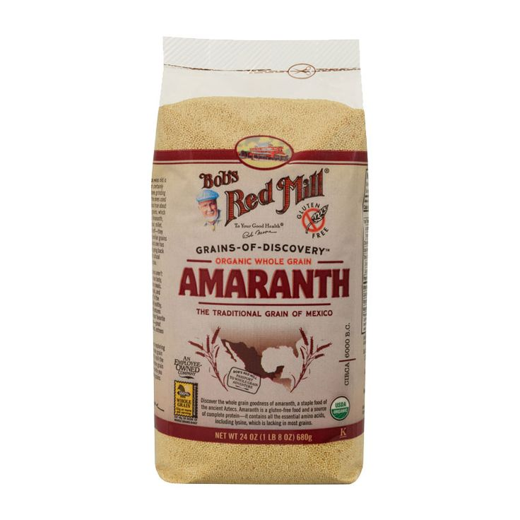 Organic Amaranth Grain :: Bob's Red Mill Natural Foods Amaranth is a gluten-free food and a source of complete protein—it contains all the essential amino acids, including lysine, which is lacking in most grains. High in fiber and a good source of magnesium and iron, Amaranth is a spectacular addition to your diet. This little powerhouse is perfect for gluten free and vegan diets.