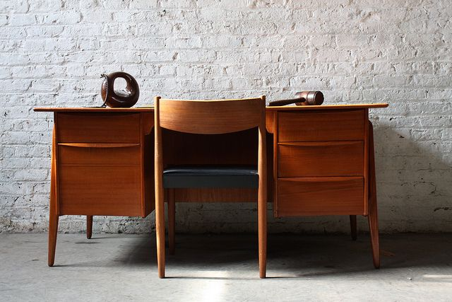 Svend Madsen Danish Modern Teak Desk w/ Two Tier Bookshelf Front