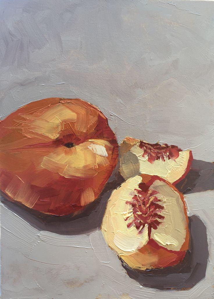 """'Overcast Peaches' 5x7"""" Oil on Board by Fiona Verdouw"""